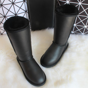 Winter Knee High Snow Boots Australia Sheepskin Boots Natural Wool Sheep Fur Genuine Leather Women Long