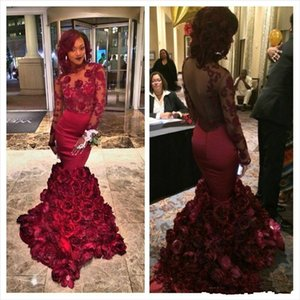 Elegant Maroon black girls mermaid prom dresses open back sexy sheer top appliques long sleeve evening dress tight Rose Floral fishtail gown on Sale