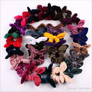Wholesale Hairbands Rabbit Ear Hair Bands Fashion Hair Rope Ties Velvet Headband Ponytail Headwraps Headdress Hair Accessories Party Decoration B4799