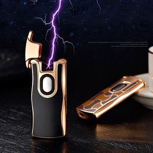 premium Plasma arc Lighter Dual arc Electric USB Rechargeable metal windproof cigarette Lighter power indicator leopard running pattern A872
