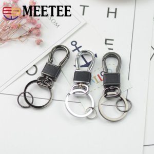 Meetee Metal Dog Hook Key Buckles Double Circle Men's Waist Car Keychain DIY Bag Garment Pendant Leather Decoration BD426