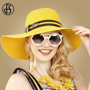 wholesale Vintage Ladies Yellow Straw Hat For Beach Women Summer Large Wide Brim Floppy Foldable Visor Hats With Ribbon Sent Handbags