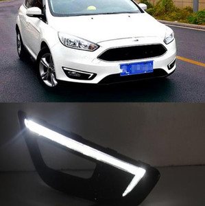 Wholesale focus head light resale online - 1pair DRL For Ford Focus Daytime Running Lights Fog head Lamp cover with yellow turn signal car styling
