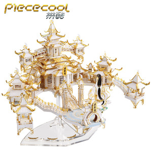 MMZ MODEL Piececool 3D metal puzzle THE MOON PALACE Assembly Model DIY 3D Laser Cut Model puzzle toys gift for adult Y200421