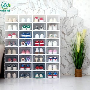 Wholesale 6pcs set Shoe Organizer Drawer Transparent Plastic Shoe Storage Box Rectangle Pp Thickened Shoes Organizer Drawer Shoe Boxes Q190429