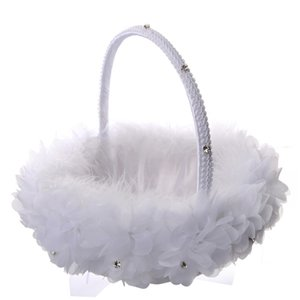 Wholesale White Ostrich Feather Flower Girl Basket Elegant Round Silk Flower Basket Feather Wedding Favors Wedding Accessory New CPA1911