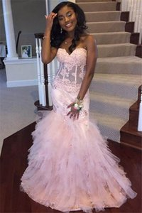 Gorgeous Black Girls Mermaid Prom Dresses Sweetheart Tiered Ruffles Corset Evening Gowns Elegant Graduation Holiday Party Dress Women Wear on Sale