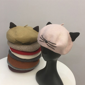 Wholesale Women berets Autumn and winter cute cat wool material student painter cap fashion hats pumpkin cap bud top quality cute girl hat