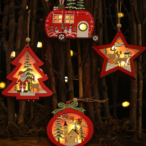 Wholesale 2019 Creative Christmas LED Light Up Wooden Decorative Hanging Ornaments Indoor Christmas Tree Party Bedroom Holiday Decoration