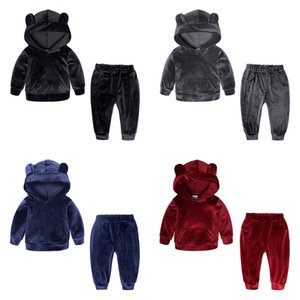 Wholesale 2019 New spring Children s boys girls clothing coat pants Fashion baby Outfits gold velvet set Suits warm boy clothes sets