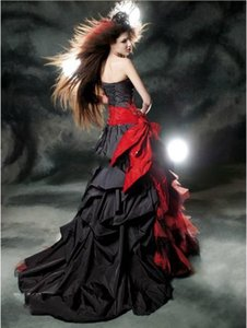 Black and Red Gothic Evening Dresses 2019 Vintage Court Style Sweetheart Ruffle Taffeta Floor Length Big Bow Sexy Corset Party Prom Gowns on Sale