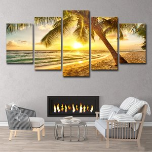 Wholesale Only Canvas No Frame Autumn Beach Seascape Tree Wall Art HD Print Canvas Painting Fashion Hanging Pictures