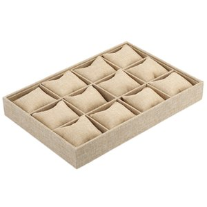 New 12 Slots Hemp Pillow Jewelry Watch Bracelet Display Tray Necklace Earring Container Boxes Case Jewelry Packaging Organizer