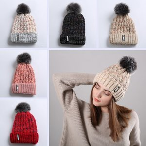 Girls Knitted Pom Poms Hat Fashion Woman Fur Ball Warm Beanies Skull Cap Men Causal Outdoor Ski Crochet Cap TTA1642