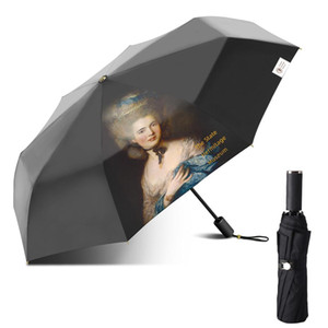 Wholesale raining paintings for sale - Group buy Retro Folding Umbrella Female Windproof Paraguas Oil Painting Umbrella Rain Women Quality Umbrellas Upf50