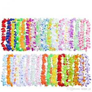 Wholesale Beach Party Hawaiian Hula Leis Festive Party Garland Artificial Silk Flowers Necklace Wreaths Party Decorative Flowers