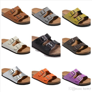 Wholesale New Style Genuine Leather Slippers Men Flat Shoes Women Sandals Double Buckle Famous Brand Arizona Summer Beach Top Quality With