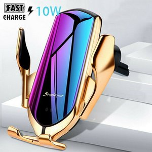 Wholesale Luxury Gold R1 Car Wireless Charger For IPhone X XR XS Plus Galaxy S10 S9 S8 Smart Automatic Clamping Fast Charge Air Vent Phone Holder