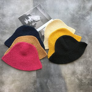 Wholesale Handmade Knitted Straw Bucket Hats Women Dome Solid All Match Casual Hat Summer Sun Protection Travel Caps Fashion Sweet cm