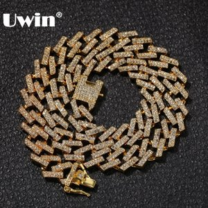 Wholesale UWIN Drop Shipping Fashion Iced Prong Cuban Link Chains Necklaces mm Mutil Colored Blue Black Rhinestones Hiphop Jewelry Mens T190907