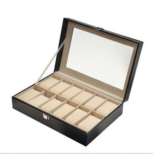 Wholesale 12 Slots Black PU Leather Wrist Watch Box Watch Case Storage Holder Organizer Jewelry Display Box x20x8cm