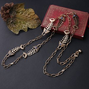 Wholesale 2019 Fashion Long Style Egyptian Fish bone Antique Necklace Gold Color Maxi Necklace Chains Women Jewelry Accessories In Box