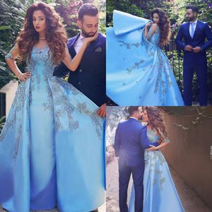 Wholesale modern Arabic sky blue evening gowns scoop neckline half sleeves appliques long prom formal dresses designer party Robes de cocktail 2019