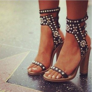 2019Fashion Studs Open Toe Women Luxury Crystal Ankle Straps Ladies Sexy High Heels Bohemia Style Female Dress Sandals Shoes Size 41
