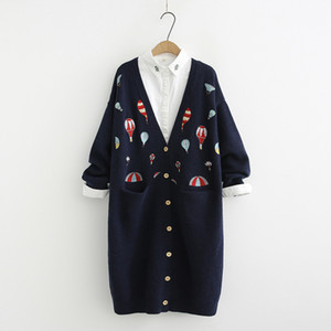 Wholesale Heavy duty color hot air balloon embroidery long Cardigan sweater mori girl autumn winter SH190928
