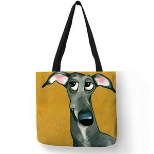 Customize Greyhound Black Dog Print Women Lady Fashion Tote Bag Fabric Handbags Folding Reusable Shopping Bags Pouch on Sale
