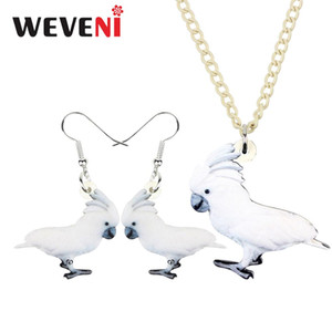 WEVENI Acrylic Jewelry Sets Anime Umbrella Cockatoo Parrot Bird Necklace Earrings Fashion Girl Kids Charms Party Gift Decoration