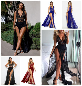 Wholesale 2019 Women s Deep V neck V back Sexy Nightclub Dress Sheer Straps Eyelash Lace See Through Empire Cocktail Gown High Splits Photo Shots