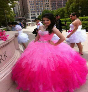 Wholesale pink ombre dresses resale online - Hot Pink Multi Color Quinceanera Dresses Sweetheart Top Corset Beaded Ombre Prom Gowns Organza Ruffled sweet dresses evening wear