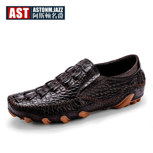 ingrosso genuine alligator mens shoes-Vera Pelle alligatore Mens SLIP ON Octopus Driving fannulloni dell uomo di affari Crocodile Stampa Mocassini Scarpe casual