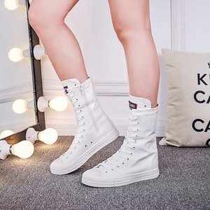 Wholesale Big Size Women Lace up Canvas Mid Calf Boots Flat Heel Womens Casual Shoes High top boots flats zipper canvas shoes MA