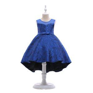 Wholesale Girls Blue Dresses Princess Party Clothes Kids Green TuTu Dress Children Clothing Pretty Wedding Girl Pink Jacquard Costumes