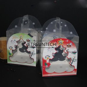 wholesale hot 100pcs Transparent Gingerbread House Package Cookie Cake Candy Chocolate Box Wedding Favors Boxes 15*16*18cm