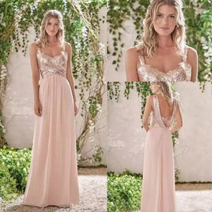 Wholesale Shiny A Line Bridesmaid Dresses Spaghetti Chiffon Sexy Open Back Wedding Guest Gowns Custom Made African Maid Of Honor Dress