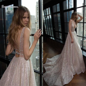 2019 Shiny A-line Wedding Dresses Plunging V-neck Backless Long Bridal Party Gowns Custom Made robe de marriage on Sale