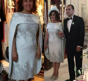 Wholesale gorgeous mother bride gowns for sale - Group buy 2020 Gorgeous Silver Lace Appliqued Mother of the Bride Dresses With Cape Formal Women Wedding Dresses Middle East Dubai Formal Gowns