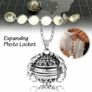 Wholesale Hot Sell Magic Photo Pendant Memory Floating Expanding Photo Locket Necklace Plated Angel Wings Flash Box Fashion Album Box Necklace CPA3133