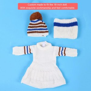 3pcs set 18inch Doll Cloth Girl Doll fashion Winter Cloth Accessory Suit Set Hat Scarf Sweater Dress for 18inch Dolls
