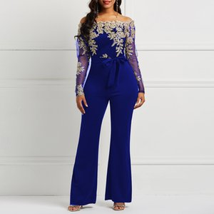 2019 Elegan Blue Chiffon Jumpsuit Evening Dress Custom Long Sleeves Prom Dresses Bateau Gold Lace Appliques Women Event Formal Gown
