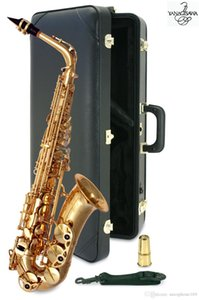 Wholesale Brand New YANAGISAWA A Alto Saxophone Gold Lacquer Sax Professional Musical Instruments With Mouthpiece Case