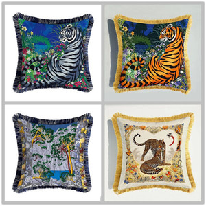 Luxury Tiger Leopard Cushion Cover Double-sided Animals Print Velvet Pillow Cover European Styl Sofa Decorative Throw Pillow Cases 45cm*45cm