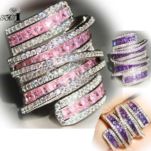 Wholesale YaYI Jewelry Princess Cut CT Multi Zircon Silver Filled Engagement Rings wedding Heart Rings Valentine s Day Girls ring