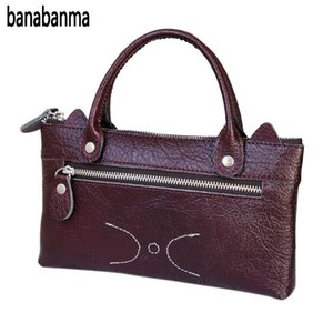 Wholesale banabanma Woman Handbag Fashion Simple Leather Wallet Compact Cute Cat Leisure Business Purse Hand Bags For Women ZK30