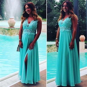 Wholesale Long V-neck Chiffon Sleeveless Aline Prom Dresses with Lace Appliques Floor Length Special Occasion Dresses Party Dresses Custom Made