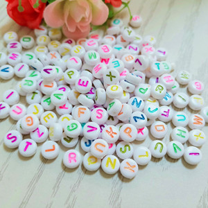 Wholesale 1000pcs x7mm Lovely DIY Beads Jewelry Bracelet Necklace Making Charm Beads Black Colorful Number Letter Printed Cheap Beads
