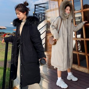 Wholesale Winter jacket women long heavy hair collar with thick cotton padded clothesknee high cotton padded jacket